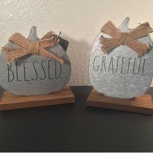 Rae Dunn FALL silver tin GRATEFUL BLESSED pumpkins